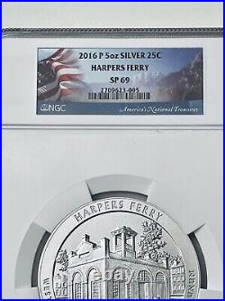 2016-P 5 Oz. Harpers Ferry SP 69 America the Beautiful Uncirc. 999 Silver