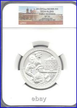 2017-P Ellis Island 5 oz. Silver America Beautiful Coin NGC SP70 EARLY RELEASE