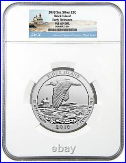 2018 Block Island 5 oz Silver ATB America Beautiful NGC MS69 DPL ER SKU49857