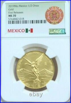 2019 Mexico Gold Libertad 1/2 Onza Ngc Ms 70 First Releases Beautiful Perfect