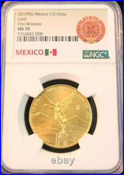 2019 Mexico Gold Libertad 1/2 Onza Ngc Ms 70 First Releases Beautiful Perfection