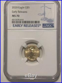 2020 P 1/10 Oz Gold Eagle MS70 Early Releases NGC MS-70 Beautiful Coin WOW