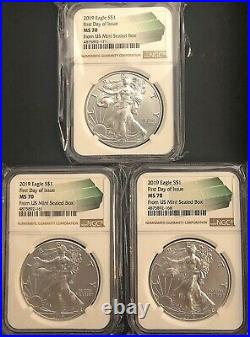 (3) 2019 SILVER EAGLES MS70 FIRST DAY OF ISSUE, Beautiful Set Of Coins