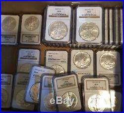 A beautiful complete set of Eagle silver dollars 1986-2020 mS69