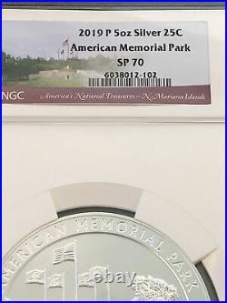 America the Beautiful 2019 5 Oz American Memorial Park SP70 5 oz. 999 Bullion