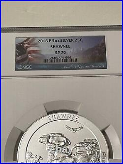 America the Beautiful 5 Oz. Silver Uncirculated Coin SHAWNEE SP 70 PERFECT