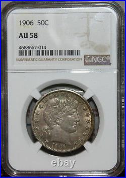 EVERYMAN! AU-58 1906 Barber Half Dollar NGC A very beautiful coin