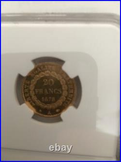 France 1878a Gold 20f Constition Coin Ngc Ms61 Beautiful Coin