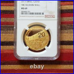 Israel 1 oz gold coin 2011 Western Wall MS 69 BOX & COA Beautiful