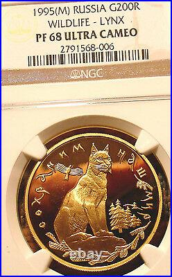 MEGA RARE RUSSIAN 1995 GOLD COIN LYNX PROOF BEAUTY! ONE Oz PURE GOLD RUSSIA