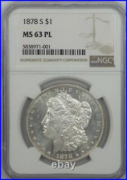 MS63 1878-S PL Morgan Silver Dollar First Year of Issue Beautiful Mirrors