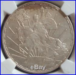 Mexico RARE 1911 $1 peso Long Ray silver horse beautiful coin NGC MS65