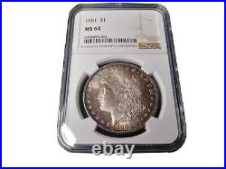 Ms64.1881 P Morgan Silver Dollar amazing toning, beautiful coin a must have