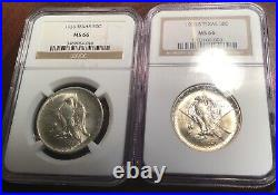 NGC MS66 1936 P-S Texas 50C Silver Commemorative Half Dollar 2 COINS BEAUTIFUL