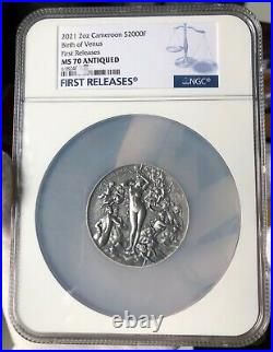 NGC MS70 FR BIRTH OF VENUS Celestial Beauty 2Oz Silver Coin Cameroon 2021