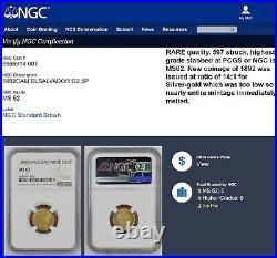 Ngc Ms62 El Salvador 1892 2.5 Pesos Gold Coin-a Rare Beauty-pop 2/0-none Finer