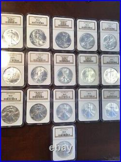 Ngc Ms69 Silver Eagle Set Run 1987-2006 16 Coins. 999 Fine Beautiful