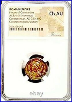 Roman Constantinopolis Coin NGC Certified Choice AU Beautiful Wood Box & Story