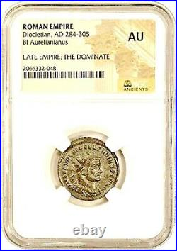Roman Emperor Diocletian Coin NGC Certified AU, With Beautiful Wood Box & Story