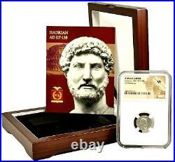 Roman Emperor Hadrian Silver Coin NGC Certified VF & Beautiful Wood Box