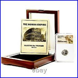 Roman Faustina JR Silver Denarius Coin NGC Certified XF & Beautiful Wood Box