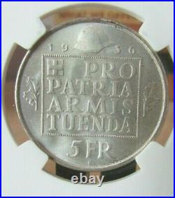 SILVER 1936B Switzerland 5 Franc NGC MS66 Armament Fund Beautiful Coin
